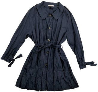 Carven Navy Linen Trench coats