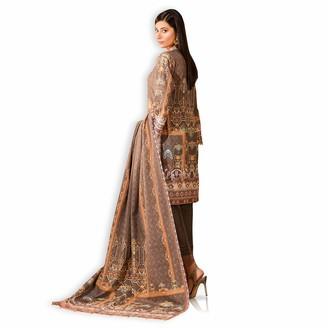 Khas Stores Pakistani Indian Dress KHADDAR Embroideried Casual WEAR Kameez Shalwar Dupatta Brown Large