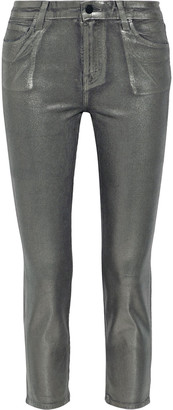 J Brand Ruby Iridescent Coated Cotton-blend Corduroy Slim-leg Pants