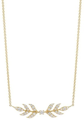 Roberto Coin Disney's Frozen 2 x 18K Yellow Gold Diamond Wheat Pendant Necklace