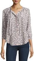Joie Madera Leopard-Print Tie-Neck Silk Blouse, Soft Sand