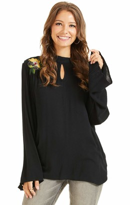 SONJA BETRO Women's Embroidered Loose Flare Sleeve Loose Women Tops Chiffon Blouse with Round Collar Keyhole Neck Small Black