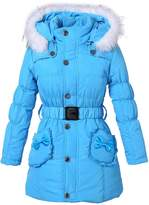 Richie House Girls' Padded Winter Jacket with Pockets, Belt and Fur Hoo RH0785-H-9/10
