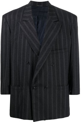 Versace Pre Owned 1980s Pinstripe Double-Breasted Blazer