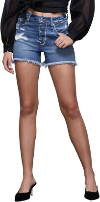 Good American The Bombshell High Waist Exposed Button Cutoff Denim Shorts