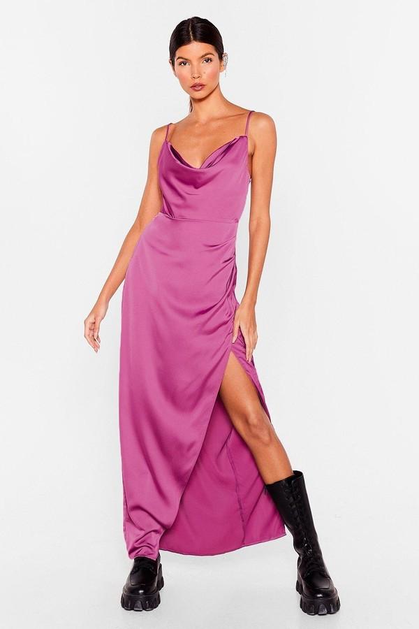 Nasty Gal Womens Lemme Cowl You Back Satin Maxi Dress - Purple - 8