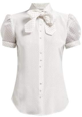 Edeltrud Hofmann - Ann Neck Tie Silk Charmeuse Blouse - Womens - White Black