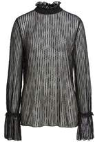 Anne Klein Women's Bell Sleeve Stretch Lace Blouse