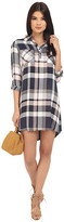 BB Dakota Midge Drapy Soft Hand Plaid Shirtdress