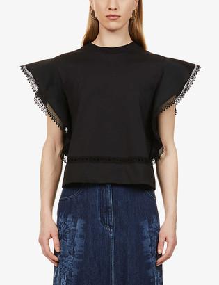 Alberta Ferretti Lace and crochet-trim cotton-jersey T-shirt