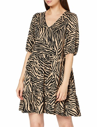 Dorothy Perkins Women's Neutral Zebra V Neck Mini Fit and Flare Dress Casual