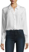 Frame Ruffle-Cuff Silk Blouse, Blanc