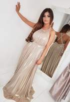 Pink Boutique Cynthia Gold Pleated Maxi Dress