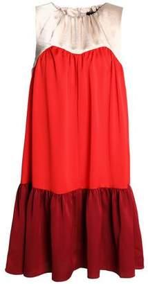 Paper London Satin-paneled Color-block Crepe Mini Dress