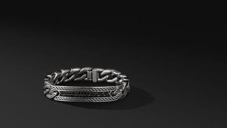 David Yurman Maritime Curb Link Id Bracelet With Black Diamonds