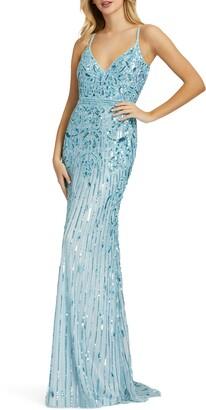 Mac Duggal Sequin V-Neck Sheath Gown