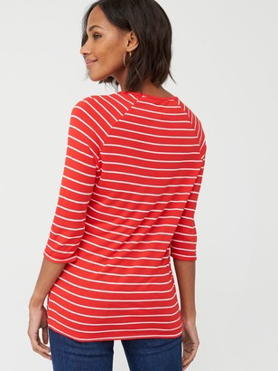 Very Three Quarter Length Sleeved Raglan Tee - Stripe