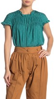 Amour Vert Current Air Smocked Ruffle Short Sleeve Blouse