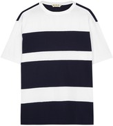 Marni White And Navy Striped Cotton T-shirt