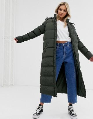 Brave Soul hopma longline puffer jacket with faux fur trim hood-Green