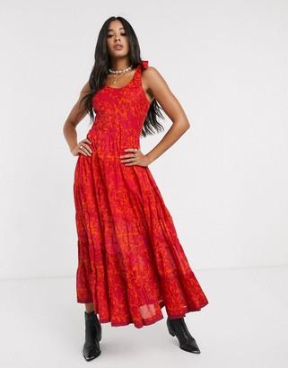 Free People kika's printed midi dress-Orange