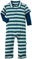 Kickee Pants Print Polo Romper (Baby) - Dino Stripe-0-3 Months