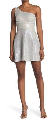 Love, Nickie Lew One Shoulder Sequin Skater Dress