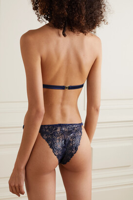 Coco de Mer Iris Embroidered Tulle And Satin Briefs - Blue