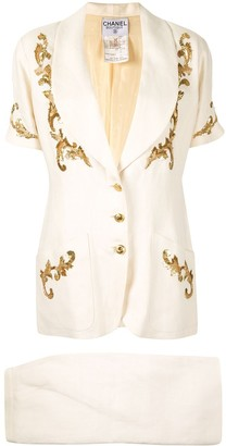 Chanel Pre Owned Embroidered Two-Piece Skirt Suit