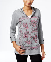 Style&Co. Style & Co. Hooded Graphic Top, Only at Macy's