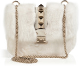 Valentino Leather/Mink Studded Shoulder Bag