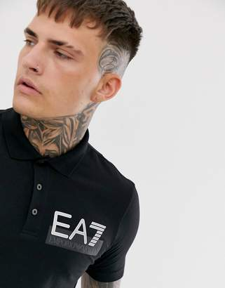 Giorgio Armani Ea7 EA7 Visibility Logo slim fit polo in black