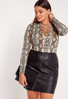 Missguided Plus Size Lace Up snake Print Bodysuit Brown