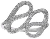 Women's Pave Cubic Zirconia Swirl Ring in Sterling Silver - Clear/Gray