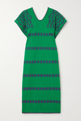 Pippa Net Sustain Embroidered Cotton Kaftan - Bright green