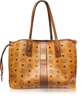 MCM Cognac Shopper Project Visetos Liz Reversible Medium Tote