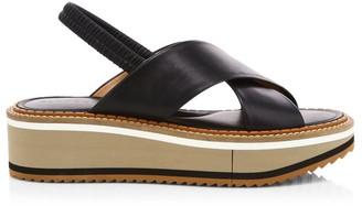 Clergerie Freedom Leather Flatform Slingback Sandals