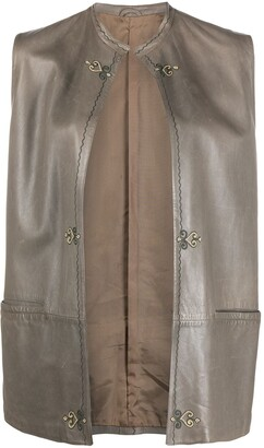Versace Pre Owned Embroidered Detailing Sleeveless Leather Vest