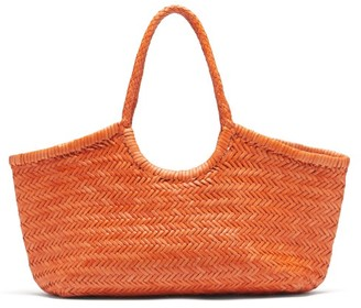 DRAGON DIFFUSION Nantucket Large Woven-leather Basket Bag - Orange