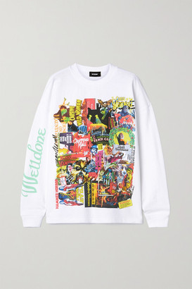 we11done Oversized Printed Appliqued Cotton-jersey T-shirt - White