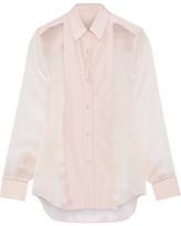 Pallas Fedoral Faille-paneled Silk-organza Shirt - Pastel pink