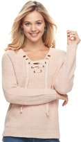It's Our Time Juniors' Lace-Up Sweater