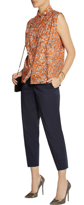 Miu Miu Cropped stretch-cotton twill pants