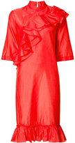Tome mandarin collar ruffle dress - women - Silk/Viscose - 4