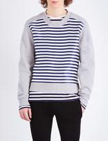 Burberry Striped-panel jersey sweatshirt