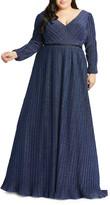 Mac Duggal Plus Size V-Neck Long-Sleeve Empire-Waist Gown