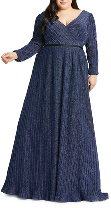 Mac Duggal Plus Size V-Neck Long-Sleeve Empire-Waist Gown