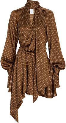 Acler Woolmore Polka Dot Tie-Neck Dress