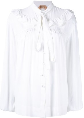 No.21 ruffle detail pussy bow shirt