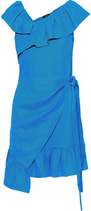 GOEN.J Wrap-effect Ruffled Linen Mini Dress